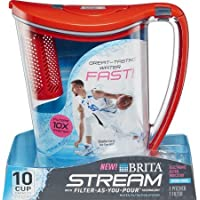 Brita 10-Cup Stream Filter as You Pour Water Pitcher with 1 Filter (Chili Red)