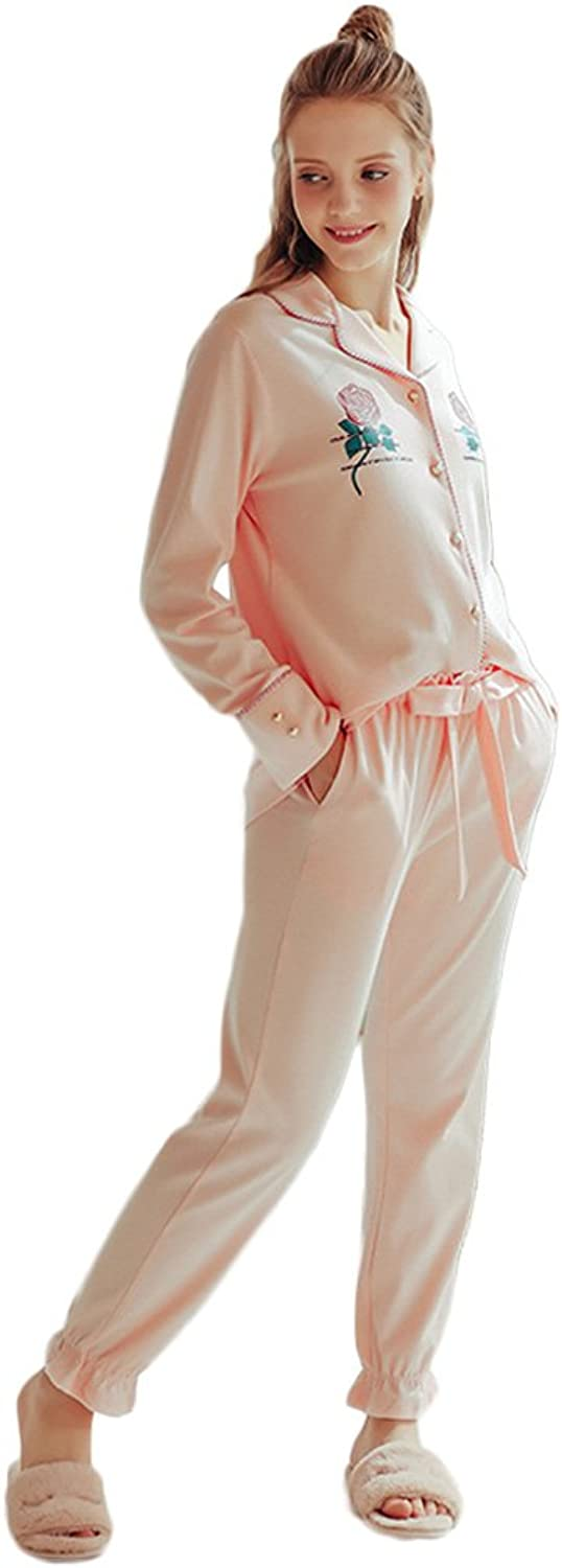 Elegant Woman Sweet Cute Cardigan Pajamas Knitted Cotton home apparel Long  Sleeved Trousers Set ( color   Pink , Size   L )