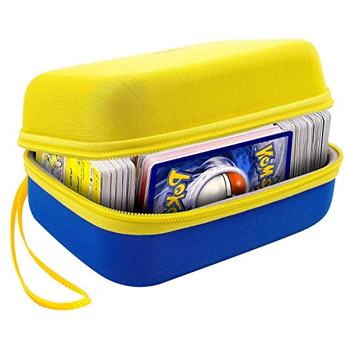 600+ PM TCG Card Case Holder for Phase 10 Card Deck Game, C.A.H Trading Cards Pack Storage Box with Wrist Strap - Yellow&Blue