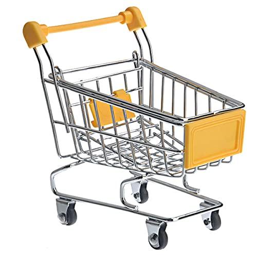 HEMOTON Carrinho de compras com 3 peças mini supermercado para casa de bonecas, carrinho de compras, brinquedo, utilitário, carrinho de compras, modo de armazenamento para meninas e crianças