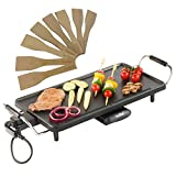 VonShef Large Teppanyaki Grill - 2000W Electric, Multipurpose, Easy-to-Clean BBQ Table Top Grill with Adjustable Temperature Control, Oil Drip Tray & 8 Spatulas- for Meat, Vegetables & Fish