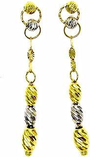 Pegaso Joyería–Pendientes oro amarillo y blanco 18kt colgantes ovalini bicolor diamante mujer niña