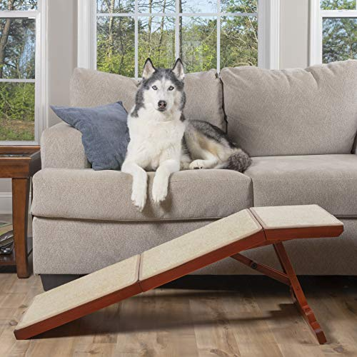 PetSafe CozyUp Sofa Ramp - Durable Wooden Pet Ramp Holds up to 100 lb - Great Couch Access for Dogs and Cats - Cherry Finish with Non-Slip Carpet...