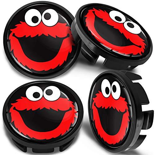 SkinoEu 4 x 65mm Tapas de Rueda de Centro Centrales Llantas Aluminio Tapacubos Compatibles con VW/Skoda 3B7601171 / 6U7601171 Negro Rojo Elmo Cookie Monster CV 42