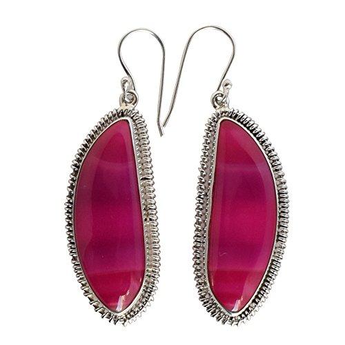 Pendientes colgantes de plata de ley 925 maciza con ágata rosa y aspecto precioso, para niñas FSJ-892