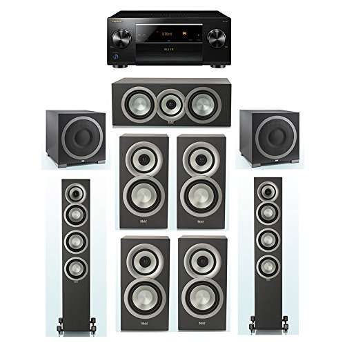 New ELAC Uni-Fi Slim Black 7.2 System with 2 FS-U5 Floorstanding Speakers, 1 CC-U5 Center Speaker, 4...