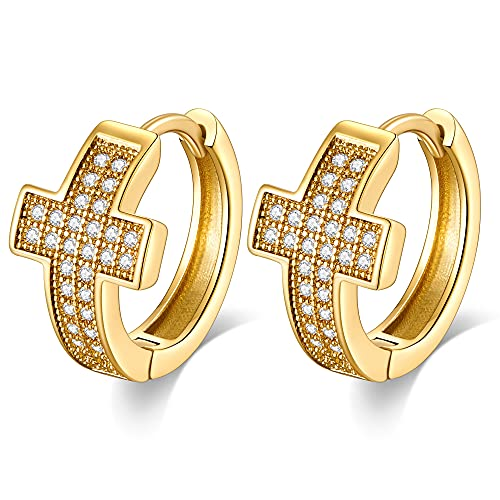 LILIE&WHITE Small Gold Hoop Earrings for Women 14k Real Gold Plated Iced Out Cross Earrings Gold Jewelry for Women