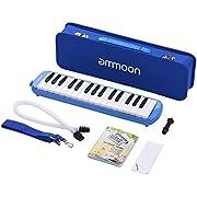 ammoon Mélodica 32 Touches Pianica Piano Style Harmonica Clavier avec Embouchure Chiffon de Nettoyage Etui de Transport pour les Débutants Enfants Cadeau Musical (Bleu)