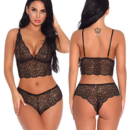 Women Lingerie Sexy Hollow Out Lace Floral Bra and Panty Set Strappy Babydoll Black