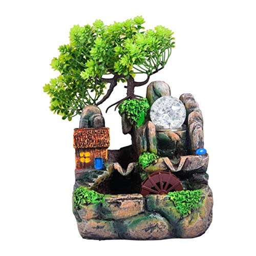 Yuxinkang Fuente De Cascada, Mini Fuente De Escritorio Silenciosa Sin Atomizador, Fuente De Agua De Rocalla Creativa, Fuente De Cascada De Agua Corriente para La Decoración De La Oficina En Casa