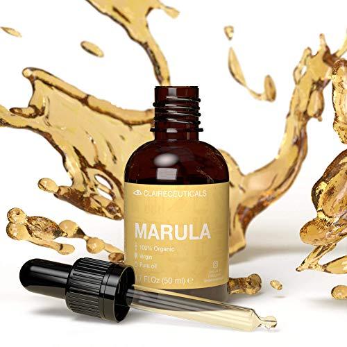 CLAIRECEUTICALS Marula Öl - Natürliches Haaröl Trockenes Haar, Mildes Anti Aging Vitamin C Serum als Gesichtsöl und Körperöl, Sanftes Bartöl als Haar Elixir,...