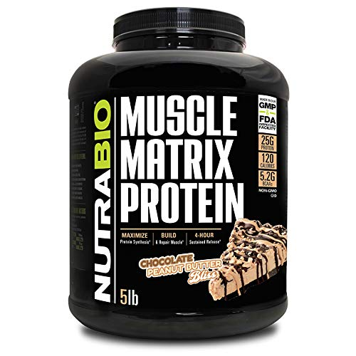 NutraBio Muscle Matrix - Whey Protein Blend (Chocolate Peanut Butter Bliss, 5 Pounds)