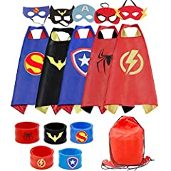 """Kids capes made of soft silky satin made of advanced felt. Durable velcro easy for the kids to take off and on Satin cape measures 27"""" x 27"""" and includes an easy velcro neckstrap Great gift for all occasions, such as birthday party, dress-up occasion..."""