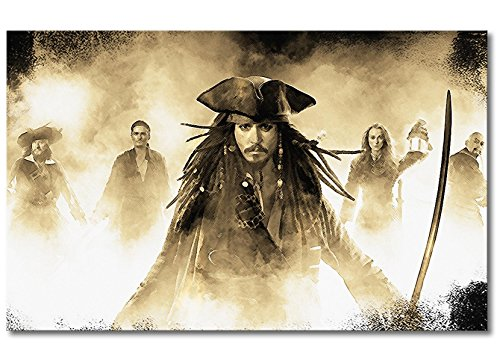 WandbilderXXL Immagine su Tela Jack Sparrow 80x 50cm–in 6Diverse Misure. Stampata su Tela e preparata su Telaio. Quadri su Tela a Prezzi Top.