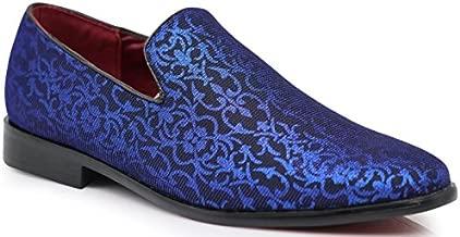 ARK1 Men's Vintage Satin Silky Floral Fashion Dress Loafers Slip On Tuxedo Formal Dress Shoes Designer (10.5 D(M) US, Blue)