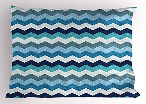 Funda de Almohada Color Aguamarina, Rayas en Zigzag geométricas de Chevron Retro Vintage, 45 x 45 cm, Azul pálido, Azul Marino y Espuma de mar