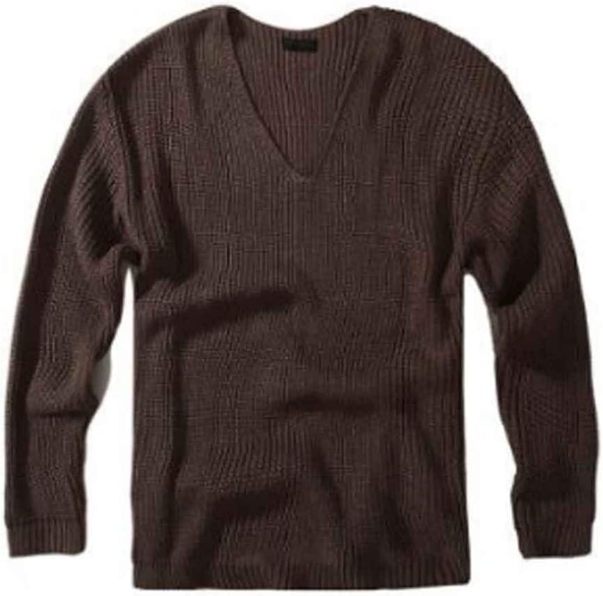 ZYING Autumn Winter Men's Pullover Thick Needle Deep Neck Loose Sweater Oversize Pullover Sweater (Color : XL Code)