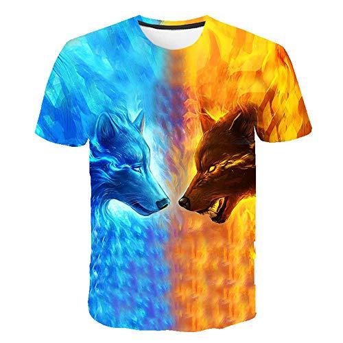 3D impresión Manga Corta Camiseta,Hielo Fuego Lobo Verano tee Shirt O-Cuello Cool Tops para Vacaciones de Verano de la Playa,3XL