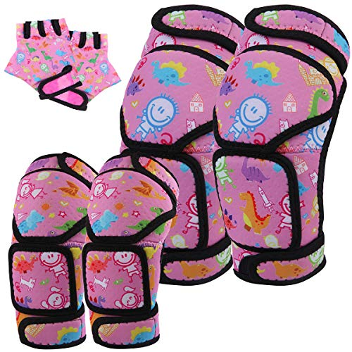 Wemfg Protective Gear Set Kids, Soft Knee and Elbow Pads with Gloves Set - Reinforced Stitching Around, Toddler Sports Protective Gear, for Kids Boys Girls Skateboard Rollerblading Bike Scooter