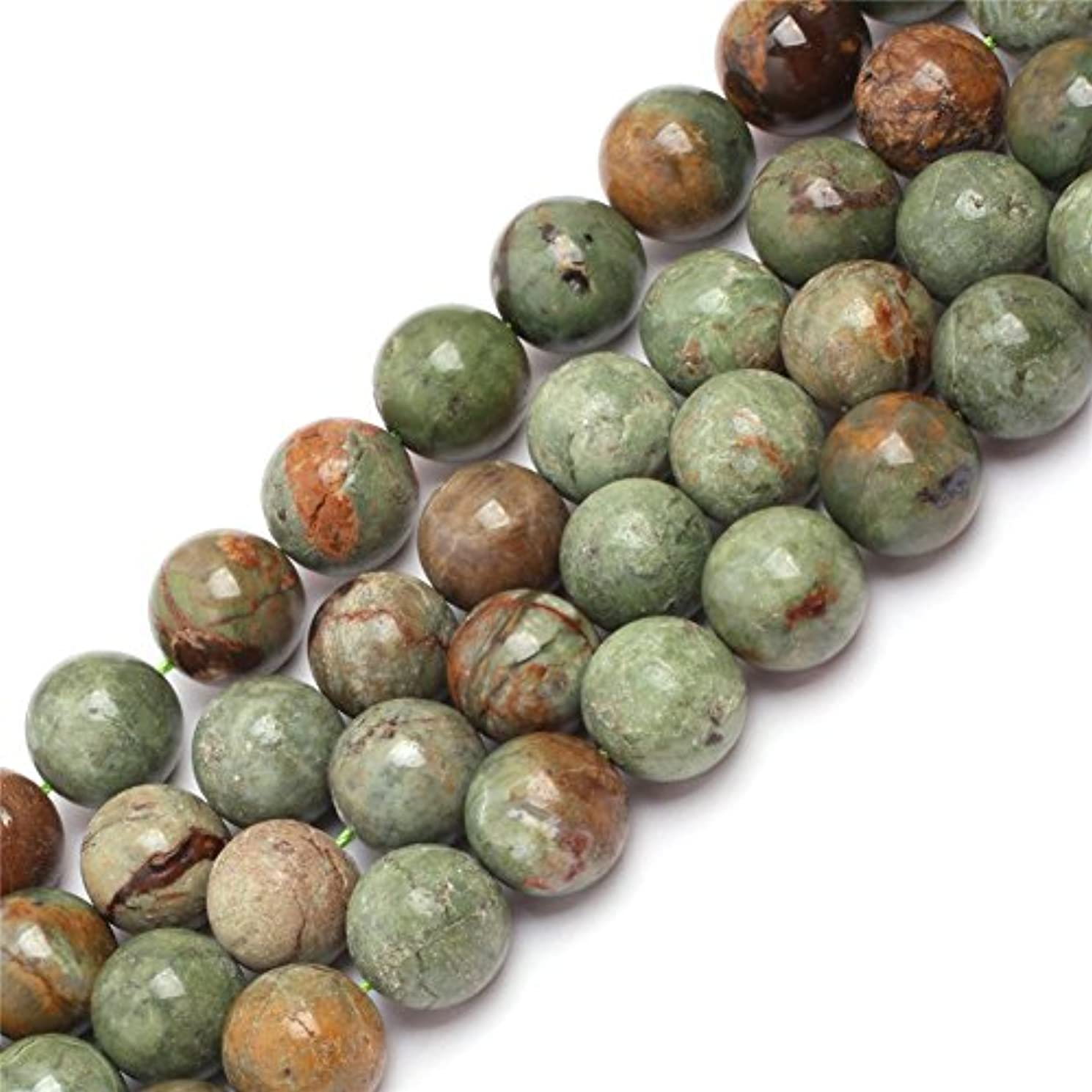 JOE FOREMAN 14mm Green Opal Semi Precious Gemstone Round Loose Beads for Jewelry Making DIY Handmade Craft Supplies 15