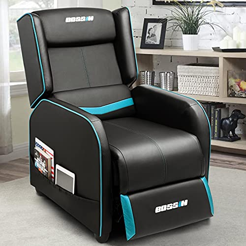 BOSSIN Gaming Recliner Chair Single Recliner Sofa PU Leather Recliner Seating Sofa Ergonomic Lounge Recliner Chair Home Movie Theater Seating Sofa for Living Room(Cyan)