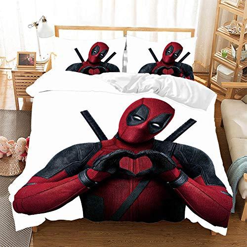 CQLXZ Marvel Hero Deadpool-Juego de cama infantil, diseño de animales, multicolor y multicolor, funda de edredón de microfibra para niños y niñas (C,200 x 200 cm)