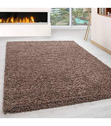 Teppich Hochflor Wohnzimmer Langflor Shaggy Unifarbe vers. Farben und Größen - Mocca, 80x150 cm