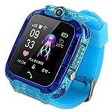 Nrpfell Reloj Inteligente para Ni?Os S12 con Pantalla HD IP67 Reloj GPS Resistente Al Agua Video Chat Pantalla de Prensa Reloj Inteligente -Azul
