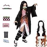 kelihood Disfraz de anime japonés, cosplay: Kimetsu no Yaiba Kamado Nezuko con props de bambú para adultos, disfraz infantil de Halloween