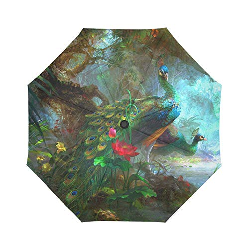 Stylish Peacock Automatic Foldable Umbrella Compact Parasol Umbrella Umbrella Windproof Rainproof
