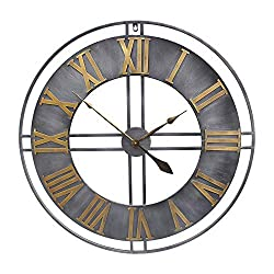 YIDIE 30 inch Large Wall Clock Decorative Pure Metal Retro Decor for Home Farmhouse Living Room, A Black Hands Including