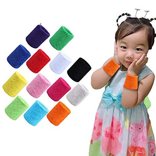 Egurs 12 Stück Kinder Schweißbänder für Handgelenk,Baumwolle,8.5 * 5cm