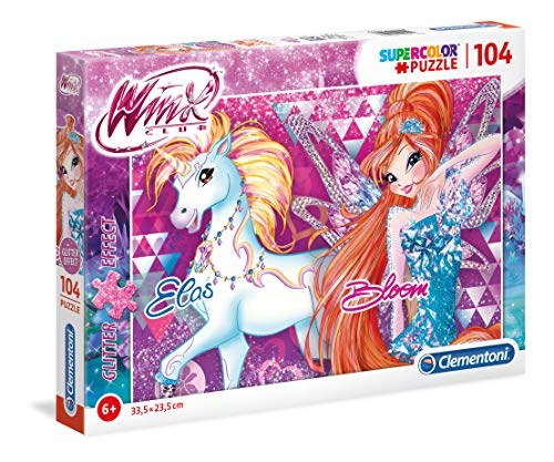 clementoni-clementoni-27107-glitter puzzle-winx-104Unidades, Multicolor, 27107