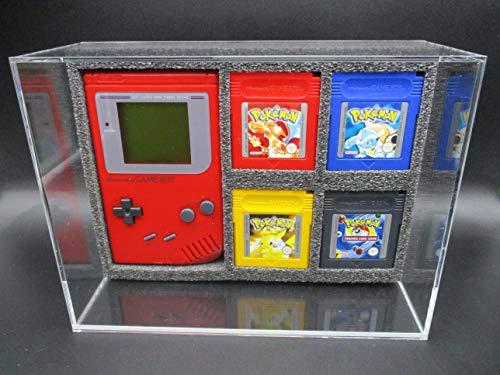 1 x Ninodo UV Absorptive Acryl Game Case Für 1 Gameboy Konsole & 4 Spiele Kassetten passend Für Pokemon Rot Gelb Blau Silber Gold Mario Donkey Kong Zelda