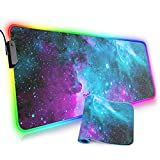 Large RGB Gaming Mouse Pad,Galaxy Nebula Space Oversized Glowing Led Extended Mousepad,10 Lighting Modes,Non-Slip Rubber Base Computer Keyboard Mousepads Mat,31.5 x 11.8 inch