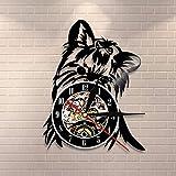 GVC Yorkie Retrato Artista Perro Tienda de Mascotas Arte de Pared Reloj de Pared Cachorro Ricky Yorkie Vinyl Record Reloj Yorkshire Terrier Razas de Perros Regalo