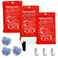 "Safe Fire Blanket Emergency Survival Kit, Includes Fire Suppression & Extinguisher Blankets with Protective Gloves and Hooks Good for a Safety Camping, Grilling, Kitchen, Car & People Size 40""x40"" (3)"