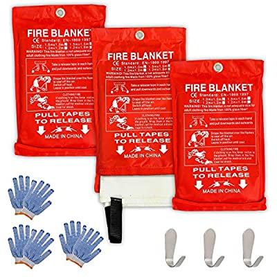 """Safe Fire Blanket Emergency Survival Kit, Includes Fire Suppression & Extinguisher Blankets with Protective Gloves and Hooks Good for a Safety Camping, Grilling, Kitchen, Car & People Size 40""""x40"""" (3)"""