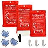Safe Fire Blanket Emergency Survival Kit, Includes Fire Suppression & Extinguisher Blankets with Protective Gloves and Hooks Good for a Safety Camping, Grilling, Kitchen, Car & People Size 40'x40' (3)