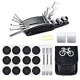 Oziral Mini Kit de Herramientas para Bicicleta 16 en 1 Reparación de Pinchazos Bicicleta con Kit de Parche y Palancas para Neumáticos, Herramienta Bici Multifunción Portátil Compacta