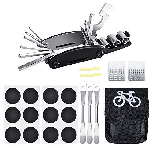 Oziral Trousse d'outils de vélo 16 en 1 Outil de vélo Multifonction pour Vélo avec Outil de Râpe pour Levier de Réparation de Pneu de Véloe avec Sac pour Tubes Intérieurs Gonflables en Route