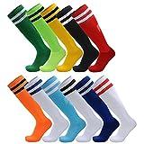 AD Taylor - Lot de 2 paires de chaussettes rayéesmontantes et unisexes pour les sports, football, hockey - Pour hommes, femmes, garçons et filles, Orange, Adults/UK 6-11(EUR39-44)