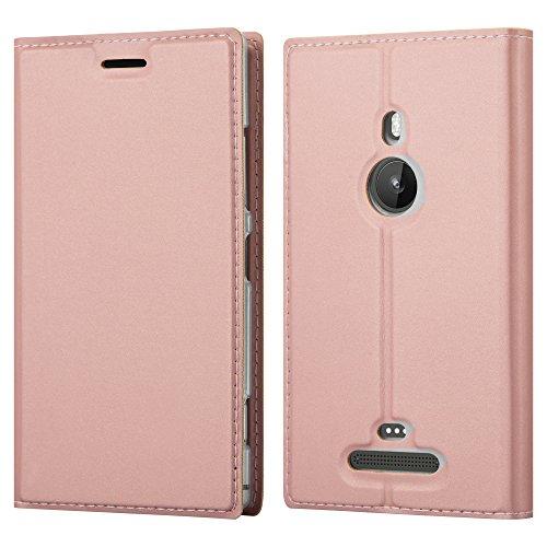 Cadorabo Hülle für Nokia Lumia 925 in Classy ROSÉ Gold - Handyhülle mit Magnetverschluss, Standfunktion und Kartenfach - Case Cover Schutzhülle Etui Tasche Book Klapp Style