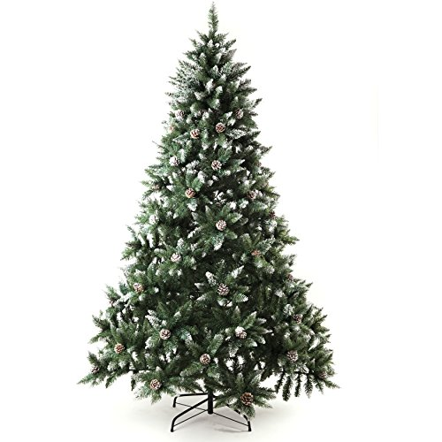 Senjie Artificial Christmas Tree 6,7,7.5 Foot Flocked Snow Trees Pine Cone Decoration Unlit (7 Foot...