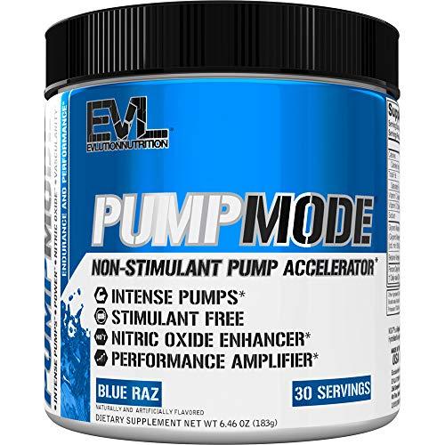 Evlution Nutrition Pump Mode | Stickstoffmonoxid Booster Für Unterstützung Der Intensiven Muskelaufbau, Leistung Und Vaskularität | Pulver, 30 Portionen (Blue Raz)