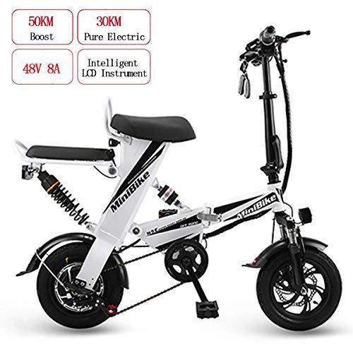 AFF Elektrische mountainbike, voor volwassenen, inklapbaar, E-bike, 48 V, 8 Ah, 350 W, mini, dubbele levensduur 30 km en maximale snelheid 25 km/h, dubbele schijfremmen, wit