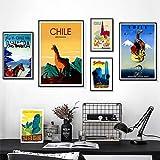 PMSMT Viaje a Chile San Diego Alpaca Pinturas de Arte Pop sobre Lienzo Carteles de Kraft de Pared Vintage Pegatinas de Pared revestidas Regalo Decorativo para el hogar