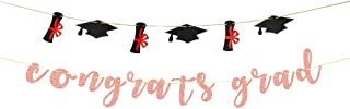 Talorine Rose Gold Congrats Grad Banner - for Senior Masters Bunting - So Proud of You Graduation Party Bunting Decoratins...