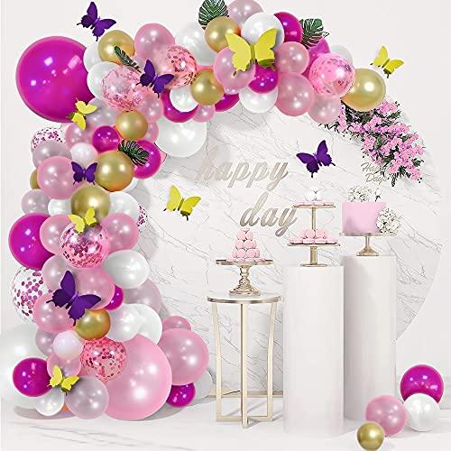 Unisun - Kit de arco de guirnalda de globos, 120 globos de látex blanco, globos de confeti metálicos dorados con 24 mariposas, kits de bricolaje para niñas, baby shower, boda, fiesta de cumpleaños