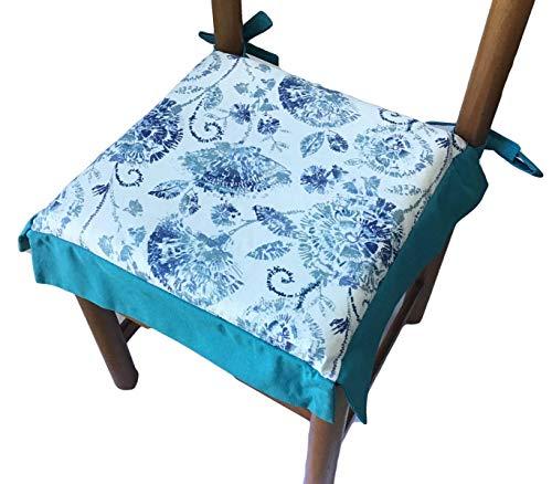 mauro Cojines para sillas,Almohadillas para sillas con Volantes-Juego de 4 Unidades-Tela Algodón Pesado-con Cordones-con Cremallera-Tamaño Cm 40x40+Volant-Grosor cojín 4 cm-Verde Azulado